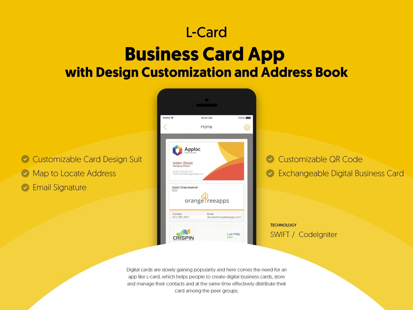 Business Card App with Design Customization and Address Book