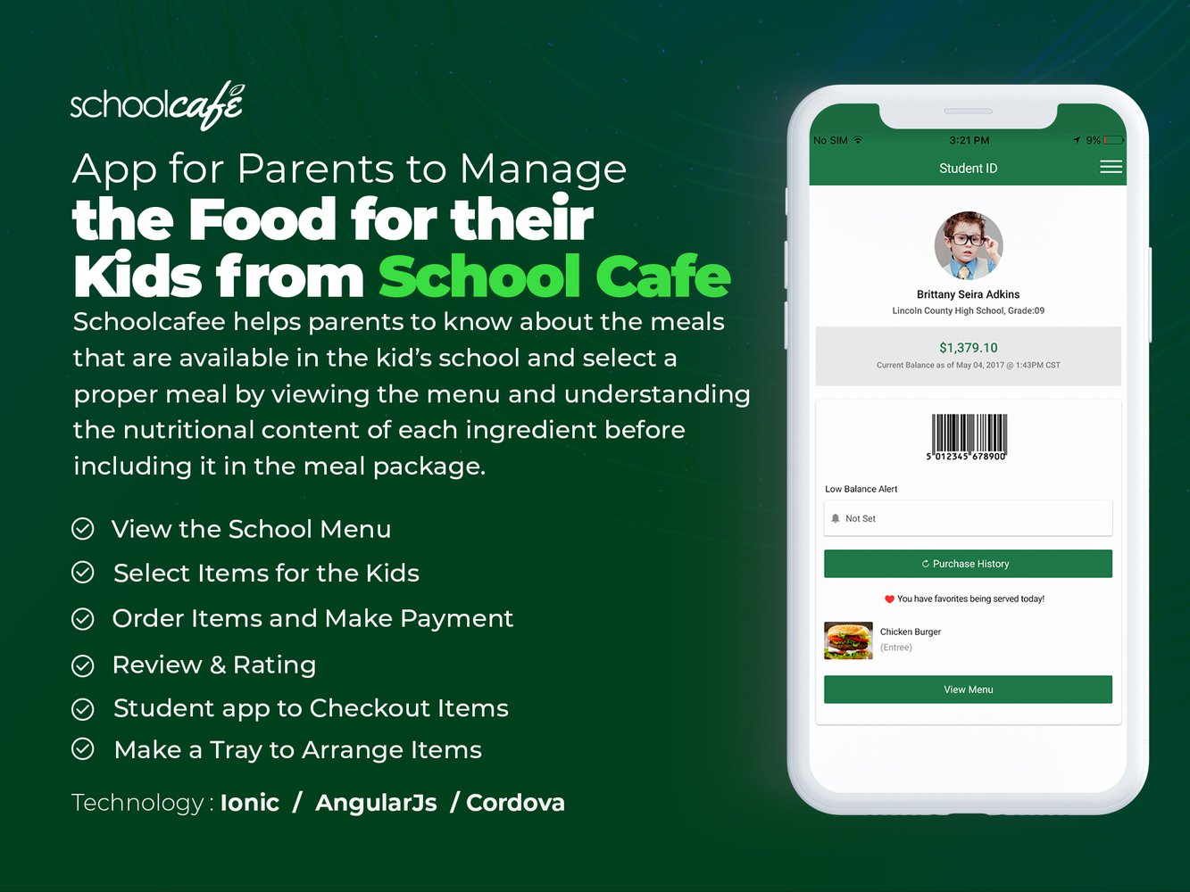 App for Parents to Manage the Food for their Kids from School Cafe