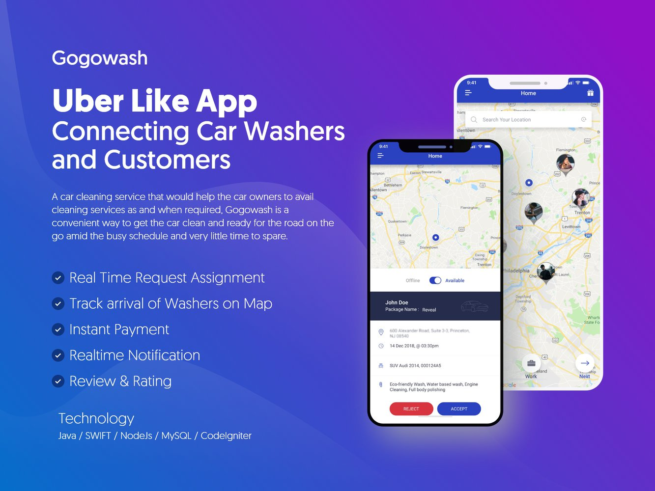 Uber Like App Connecting Car Washers and Customers